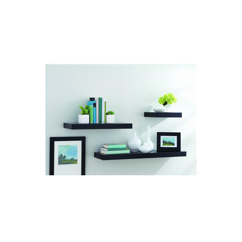 Floating Shelves - 1 Set 3Pcs Rak Dinding Minimalis - Hitam - Panjang 40cm-30cm-20cm