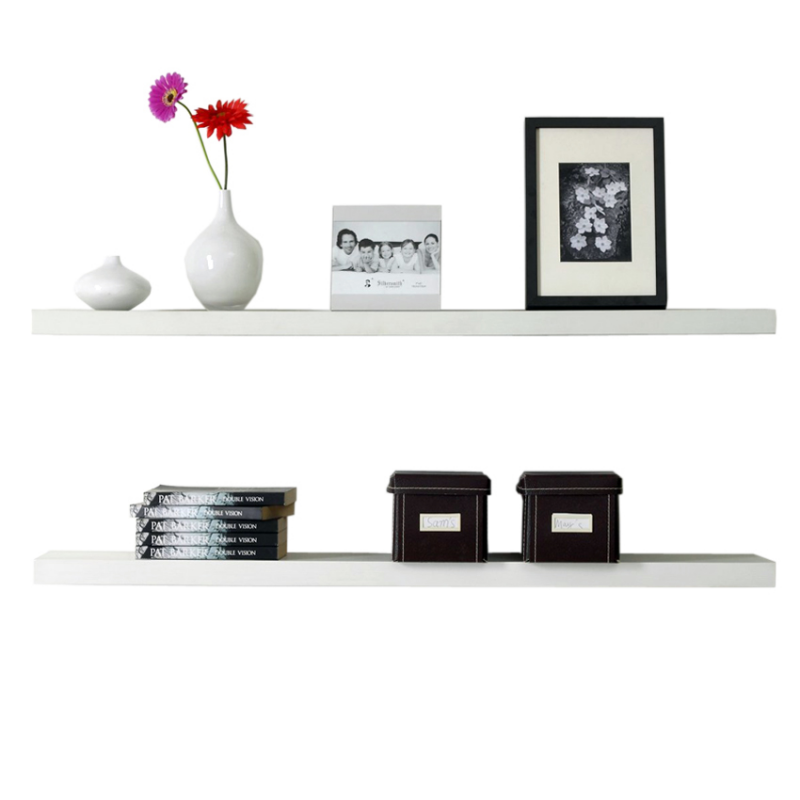 Floating Shelves - 2 Pcs Rak Dinding Minimalis 60x10x3.5cm - Putih