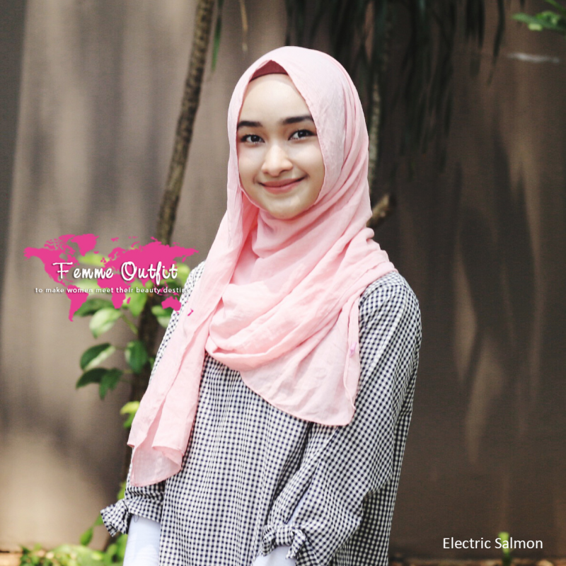 Alexa Shawl Pashmina Electric Salmon