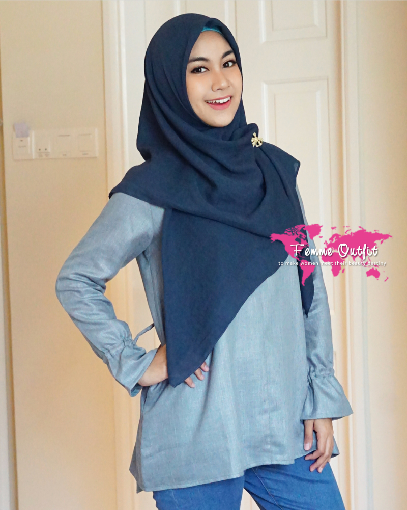 Tyrex Shawl Square Sweet Navy Blue