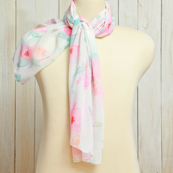 Scarf  Flower Pinkish Blush