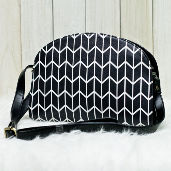Black Herringbone Halfmoon Bag