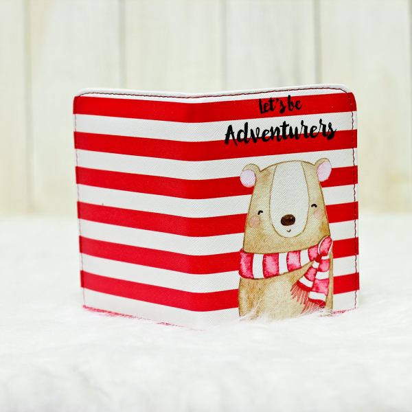 Red Stripes Bear Passport Cover