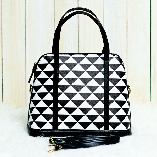 B & W Triangle Satchel