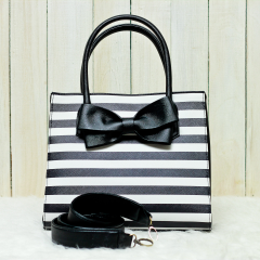 Black & White Stripes Lucy Bag