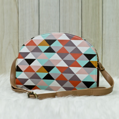 Brown Triangle Halfmoon Bag