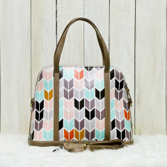 Pastel Herringbone Satchel Bag