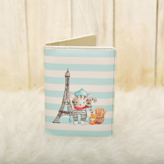 Parisian Cat Eiffel Blue Passport Cover