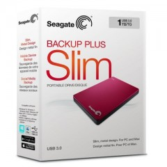 SEAGATE BackUp Plus Slim 1TB - USB 3.0 Portable External Hard Drive (Red)
