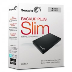 SEAGATE BackUp Plus Slim 2TB - USB 3.0 Portable External Hard Drive (Black)