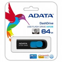 ADATA DashDrive UV128 64GB - USB 3.0 Capless Flash Drive