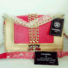 Model Tas Branded CHANEL Princess Syahrini super HK Red-gold
