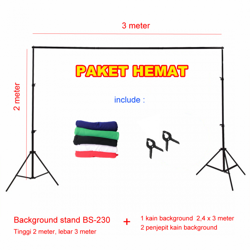 Background stand 2 x 3 meter | paket dengan background kain 2.4 x 3 m