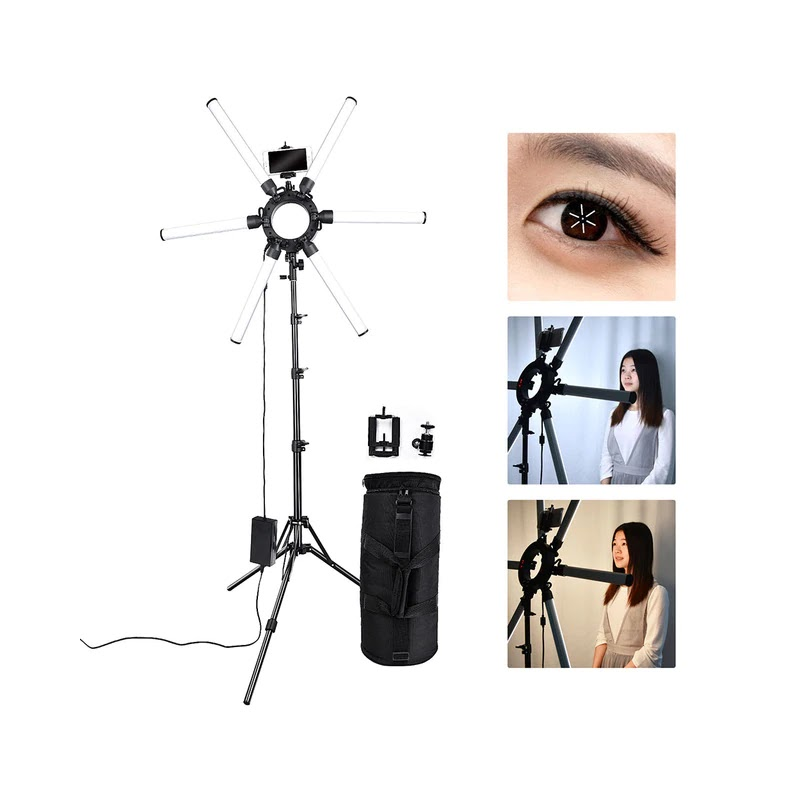 Lampu Studio Make Up Profesional LED Star Light- X Lamp - Paket Dengan Stand