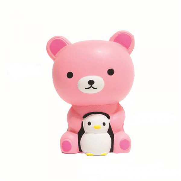 Squishy Pink Bear Carrying Penguin