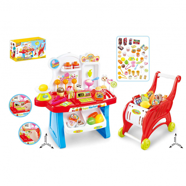 Supermarket Shopping Playset 2in1 with Trolley 668-42