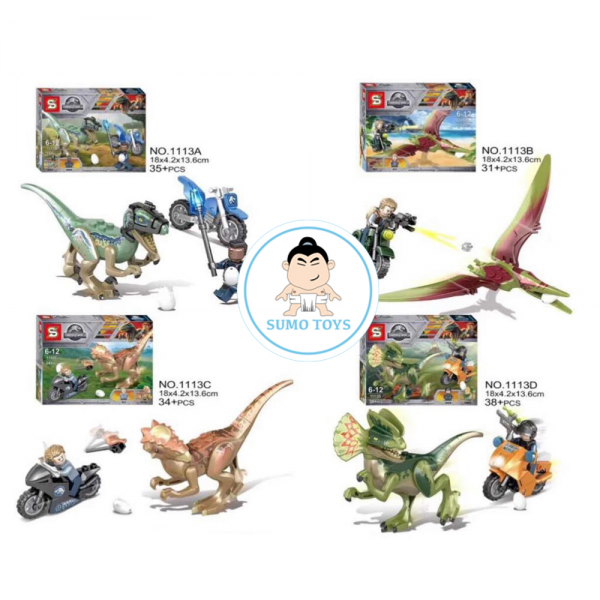 SY Jurassic World 1113A 1113B 1113C 1113D Dinosaurs 4in1 Lego KW