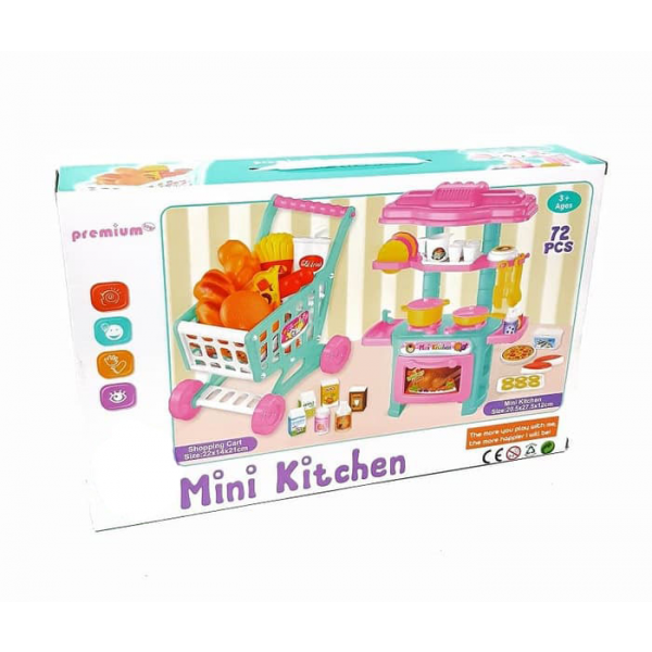 Mainan 2in 1 Mini Kitchen Set + Shopping Cart PR-17251