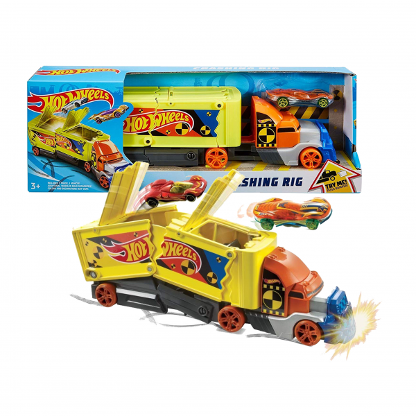 Hot Wheels Super Stunt Transporter Crashing Rig Truck