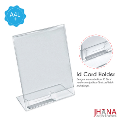 Acrylic Tentcard 01A4 L Portrait Plus Id Card Holder - TC01ZA4TP1C