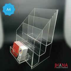 Acrylic Brochure Holder 3 Susun A4 Plus Id Card Holder - TB40ZA4ZP1D