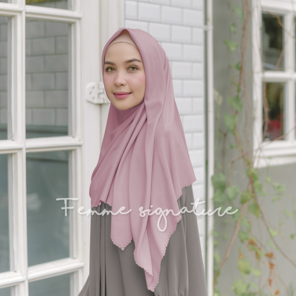 Khadijah Shawl Square Dusty Pink
