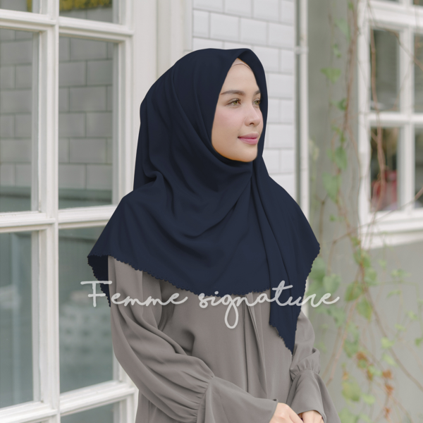 Khadijah Shawl Square Deep Navy