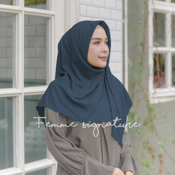 Khadijah Shawl Square Dark Blue Turqoise