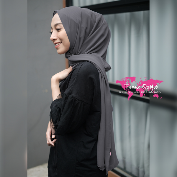 Plain Chiffon Shawl Pashmina Dark Grey