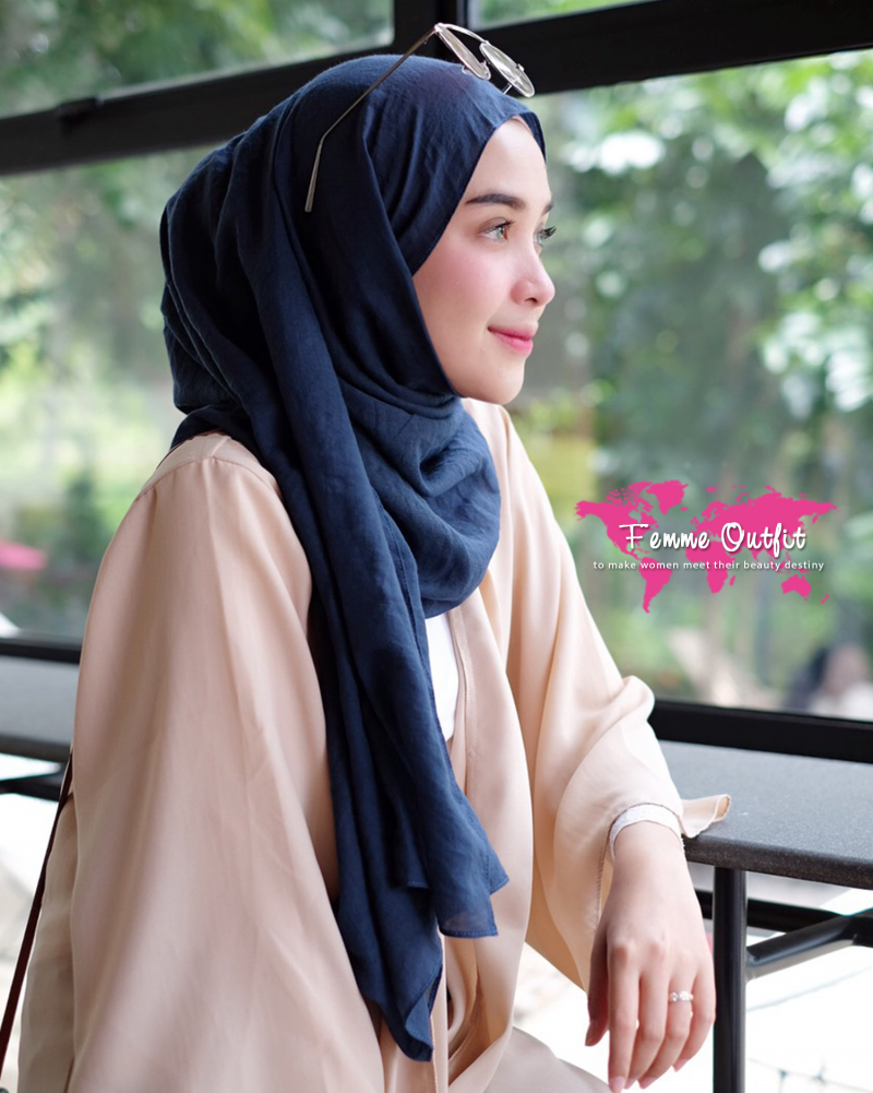 Tyrex Shawl Pashmina Sweet Navy Blue